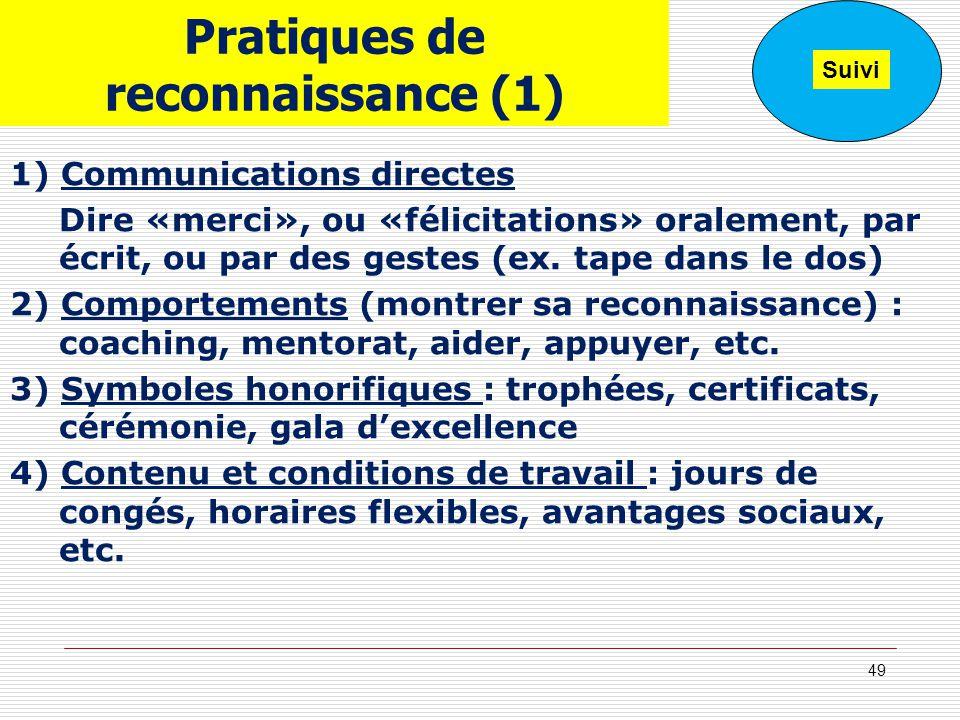 Pratiques de reconnaissance (1) 1) Communications directes Dire «merci», ou «félicitations» oralement, par écrit, ou par des gestes (ex. tape dans le