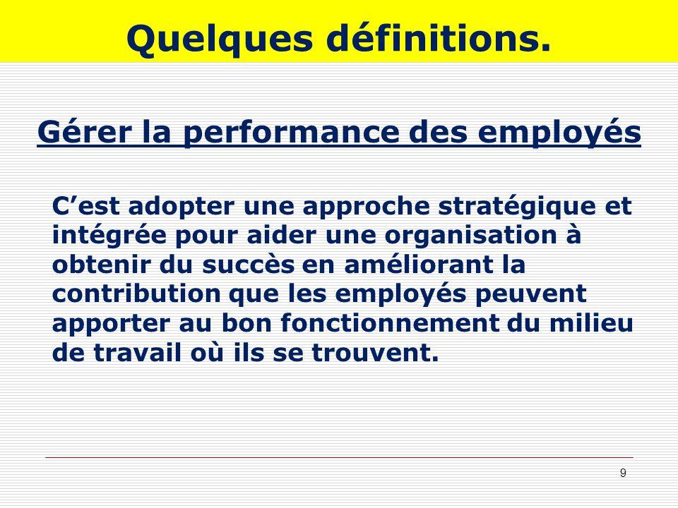 Quelques définitions. Gérer la performance des employés Cest adopter une approche stratégique et intégrée pour aider une organisation à obtenir du suc