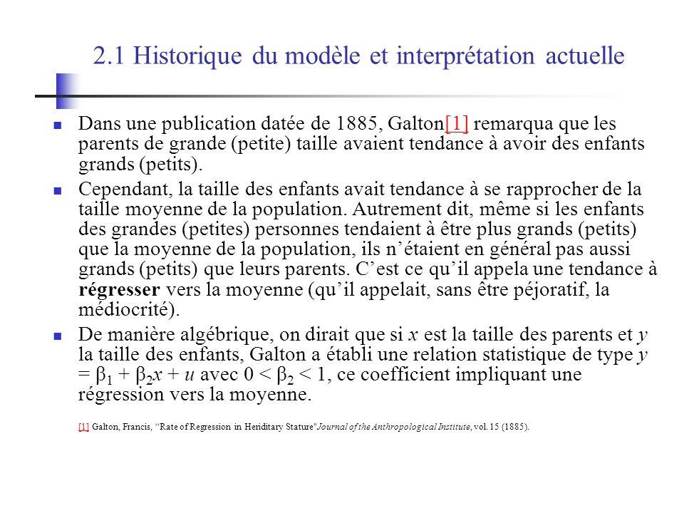 2.1 Historique du modèle et interprétation actuelle Dans une publication datée de 1885, Galton[1] remarqua que les parents de grande (petite) taille avaient tendance à avoir des enfants grands (petits).[1] Cependant, la taille des enfants avait tendance à se rapprocher de la taille moyenne de la population.