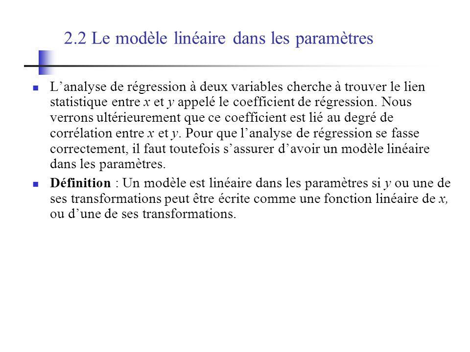 2.2 Le modèle linéaire dans les paramètres Lanalyse de régression à deux variables cherche à trouver le lien statistique entre x et y appelé le coefficient de régression.