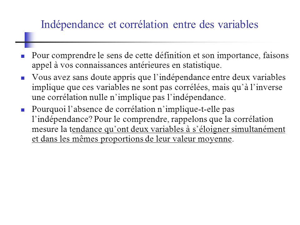 Indépendance et corrélation entre des variables Pour comprendre le sens de cette définition et son importance, faisons appel à vos connaissances antérieures en statistique.