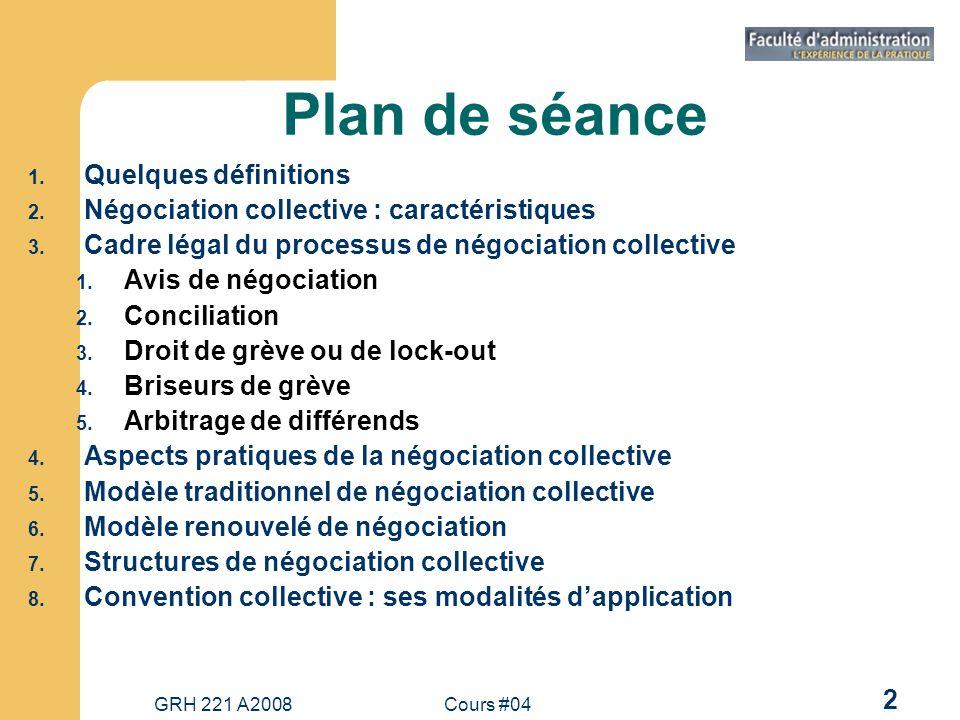 GRH 221 A2008Cours #04 13 Aspects pratiques de la négociation collective 1.