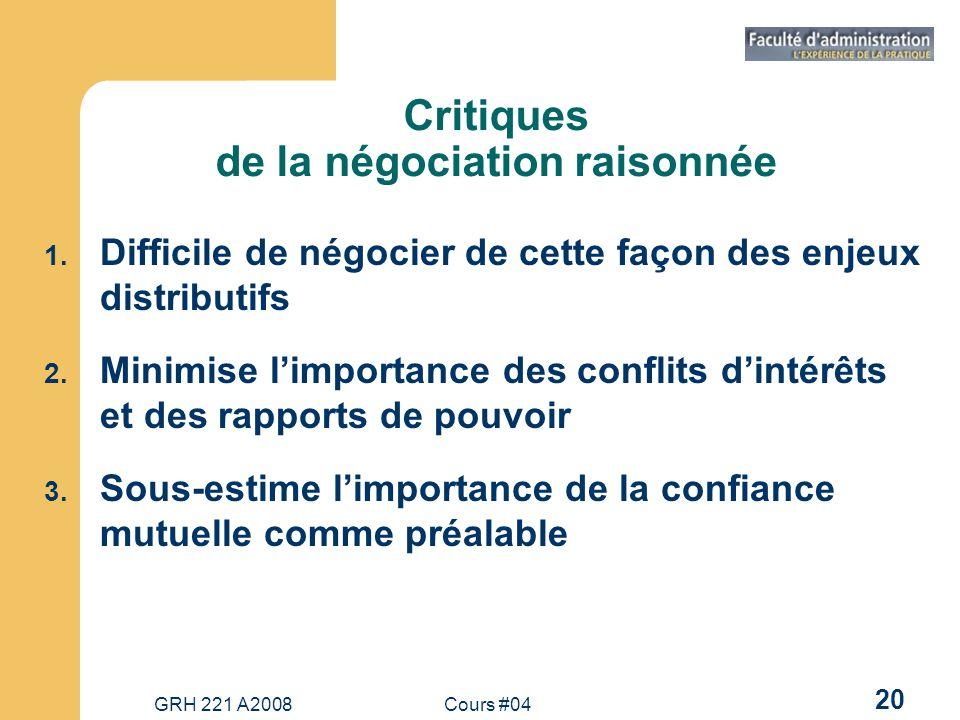GRH 221 A2008Cours #04 20 Critiques de la négociation raisonnée 1.
