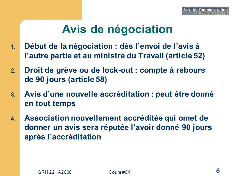 GRH 221 A2008Cours #04 17 Modèle traditionnel de négociation : ses phases 1.