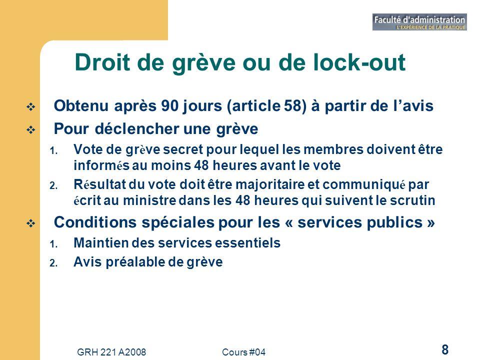 GRH 221 A2008Cours #04 8 Droit de grève ou de lock-out Obtenu après 90 jours (article 58) à partir de lavis Pour déclencher une grève 1.