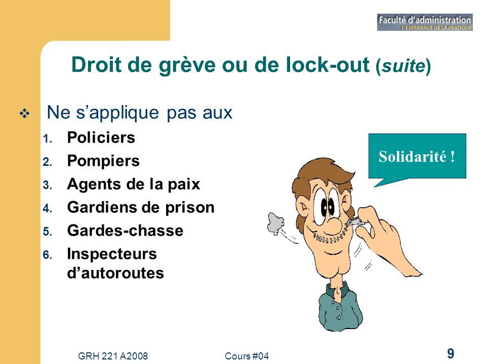 GRH 221 A2008Cours #04 9 Droit de grève ou de lock-out (suite) Ne sapplique pas aux 1.