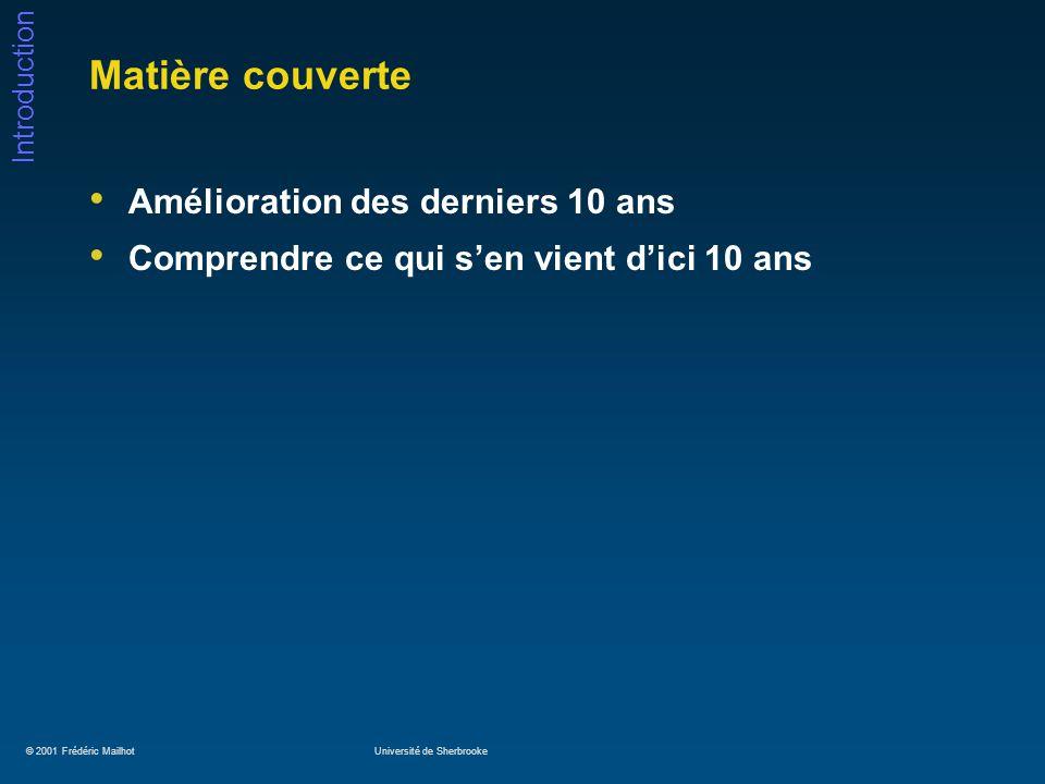 © 2001 Frédéric MailhotUniversité de Sherbrooke Introduction Conception: techniques de test Vecteurs de test Modèle stuck-at JTAG et Full / Partial Scan BIST (Built-In Self-Test)