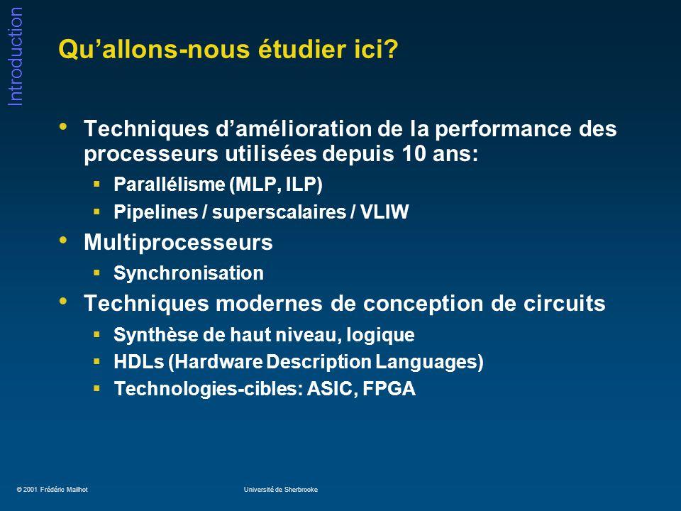 © 2001 Frédéric MailhotUniversité de Sherbrooke Introduction Comment améliorer la performance.