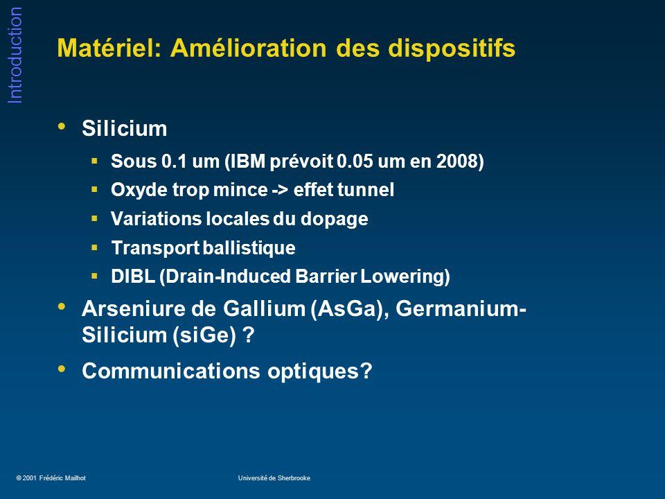 © 2001 Frédéric MailhotUniversité de Sherbrooke Introduction Matériel: Amélioration des dispositifs (2) Superconducteurs à haute température.