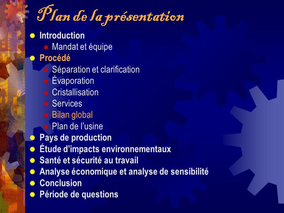 Plan de la présentation Introduction Mandat et équipe Procédé Séparation et clarification Évaporation Cristallisation Services Bilan global Plan de lu