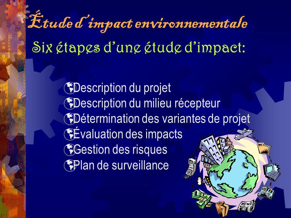 Description du projet Description du milieu récepteur Détermination des variantes de projet Évaluation des impacts Gestion des risques Plan de surveil
