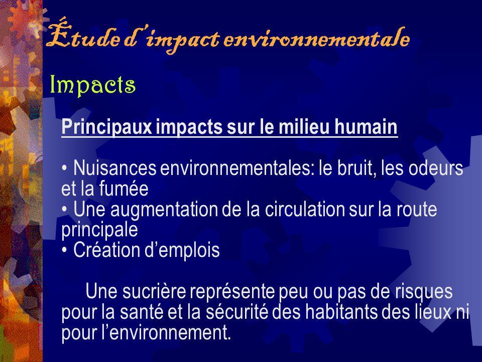 Étude dimpact environnementale Principaux impacts sur le milieu humain Nuisances environnementales: le bruit, les odeurs et la fumée Une augmentation
