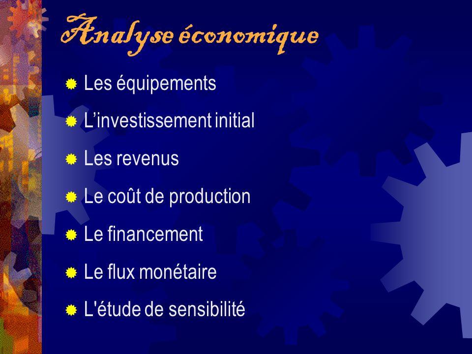 Analyse économique Les équipements Linvestissement initial Les revenus Le coût de production Le financement Le flux monétaire L'étude de sensibilité