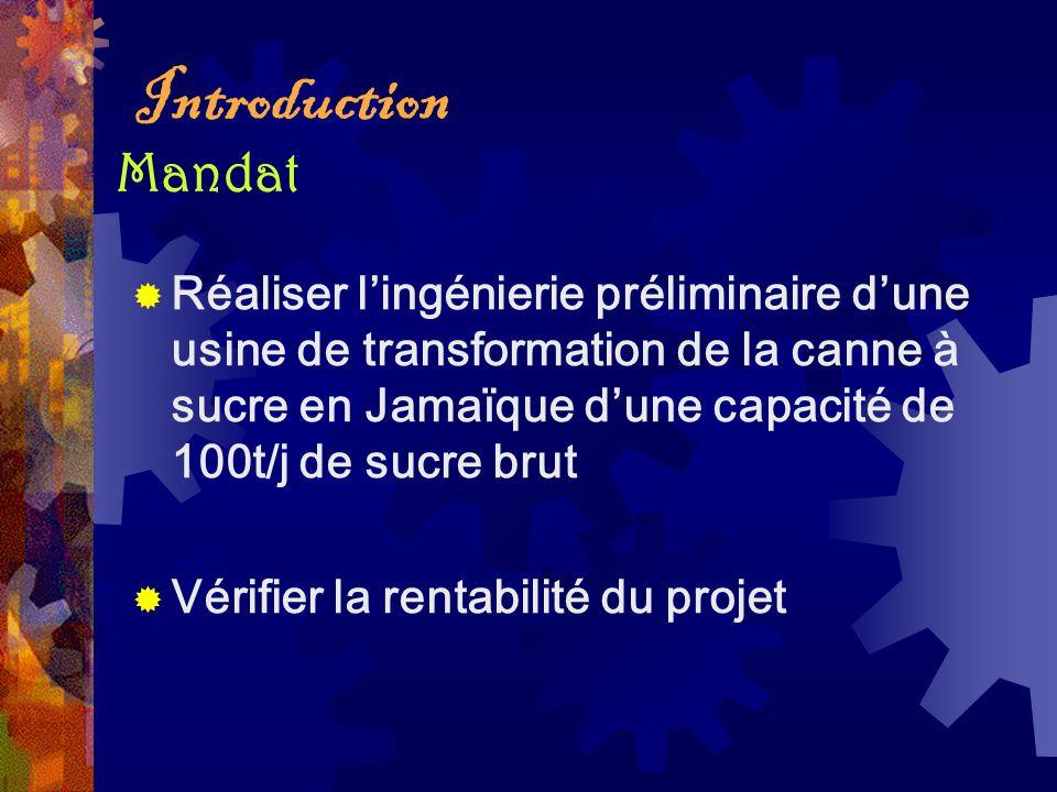 Introduction Réaliser lingénierie préliminaire dune usine de transformation de la canne à sucre en Jamaïque dune capacité de 100t/j de sucre brut Véri