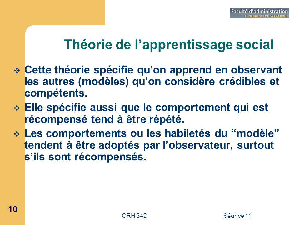 10 GRH 342Séance 11 Théorie de lapprentissage social Cette théorie spécifie quon apprend en observant les autres (modèles) quon considère crédibles et