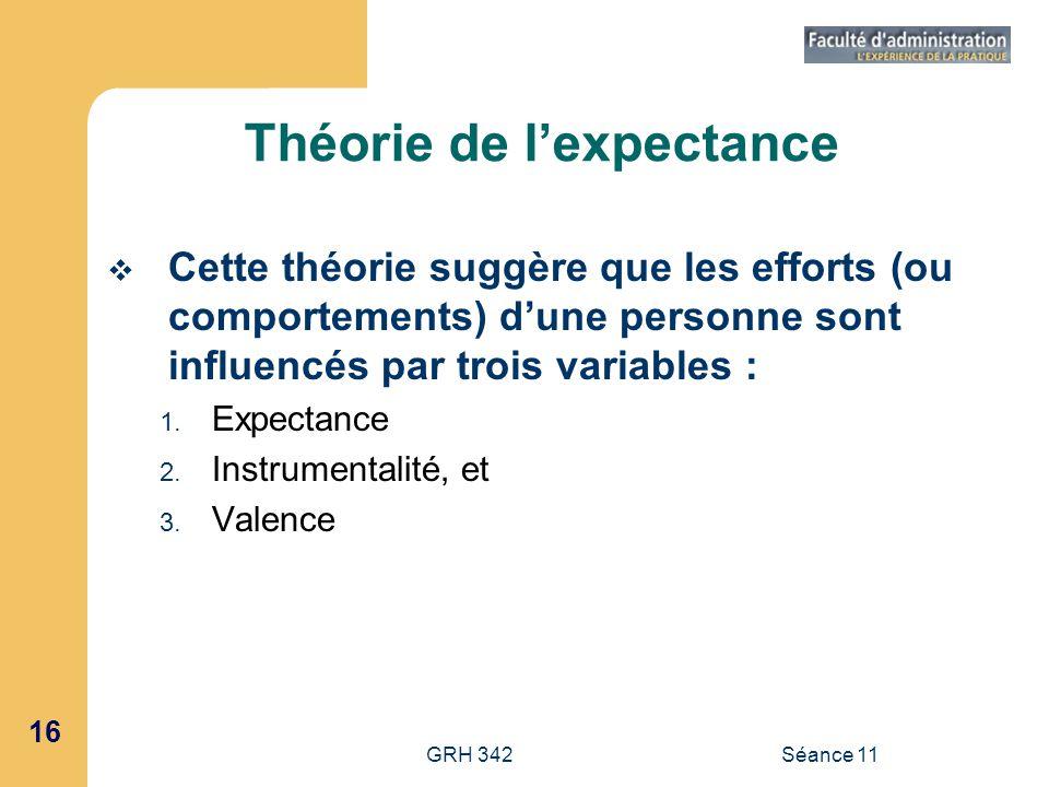 16 GRH 342Séance 11 Théorie de lexpectance Cette théorie suggère que les efforts (ou comportements) dune personne sont influencés par trois variables