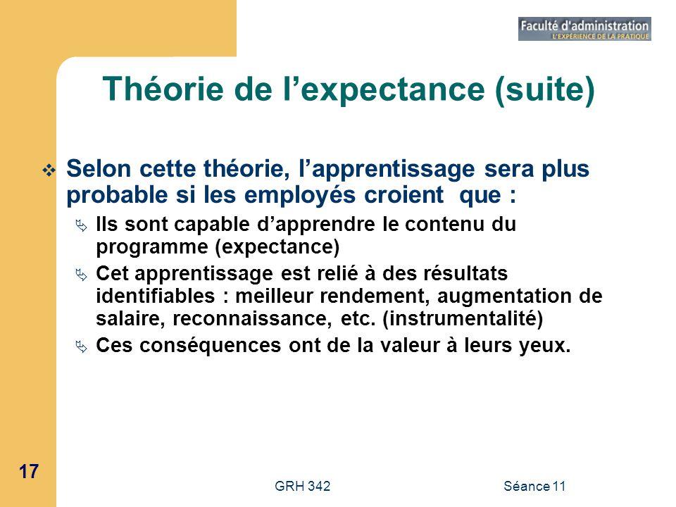17 GRH 342Séance 11 Théorie de lexpectance (suite) Selon cette théorie, lapprentissage sera plus probable si les employés croient que : Ils sont capab