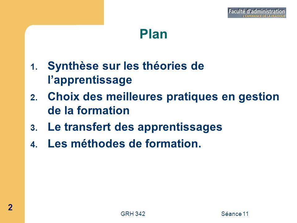 2 GRH 342Séance 11 Plan 1. Synthèse sur les théories de lapprentissage 2. Choix des meilleures pratiques en gestion de la formation 3. Le transfert de