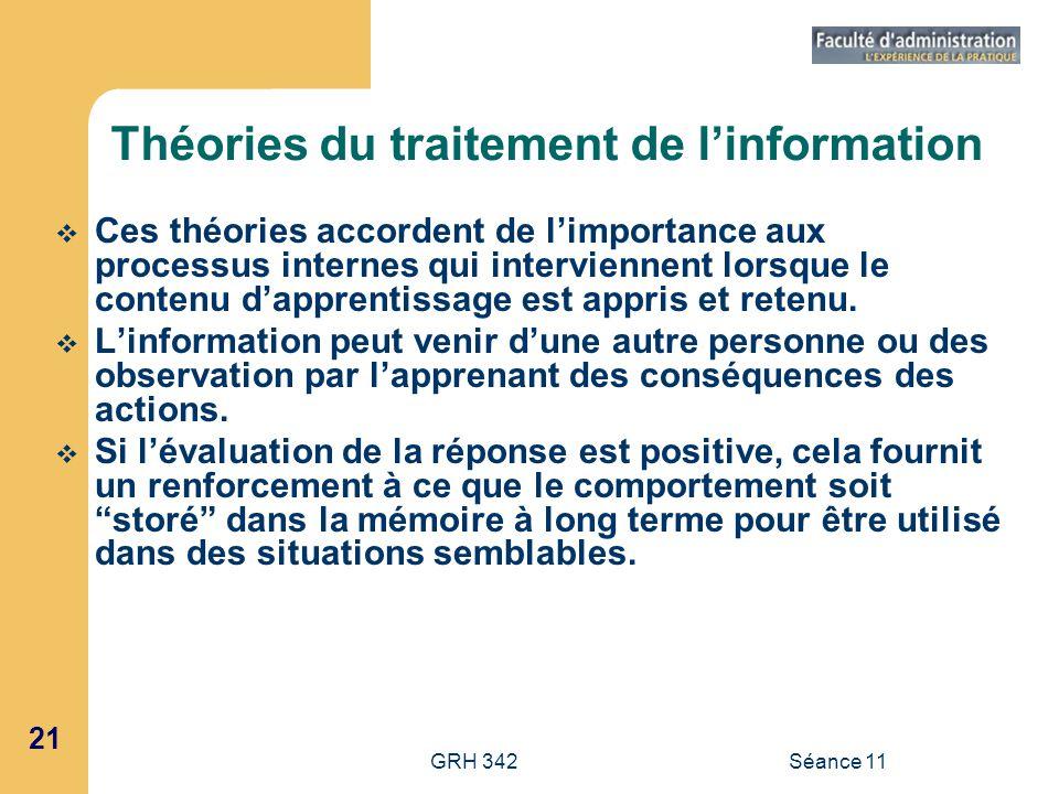 21 GRH 342Séance 11 Théories du traitement de linformation Ces théories accordent de limportance aux processus internes qui interviennent lorsque le c