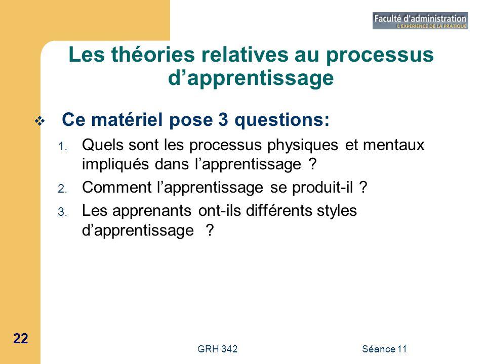 22 GRH 342Séance 11 Les théories relatives au processus dapprentissage Ce matériel pose 3 questions: 1. Quels sont les processus physiques et mentaux