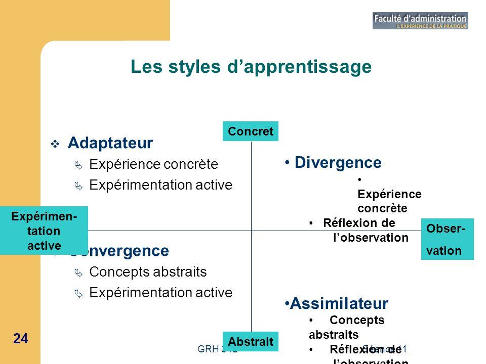 24 GRH 342Séance 11 Les styles dapprentissage Adaptateur Expérience concrète Expérimentation active Convergence Concepts abstraits Expérimentation act