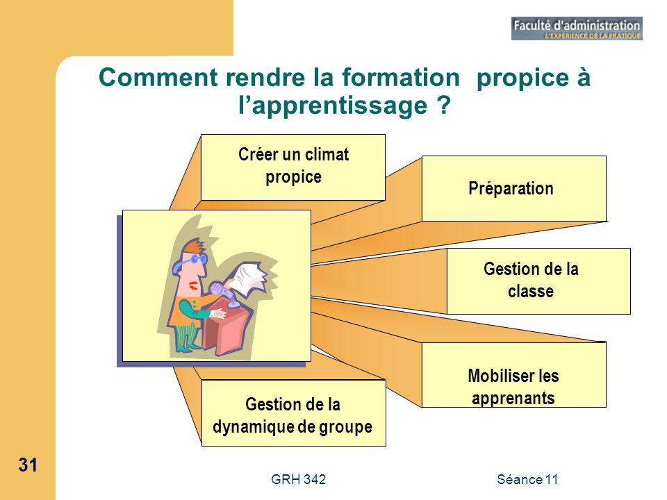 31 GRH 342Séance 11 Comment rendre la formation propice à lapprentissage ? Créer un climat propice Préparation Gestion de la classe Mobiliser les appr