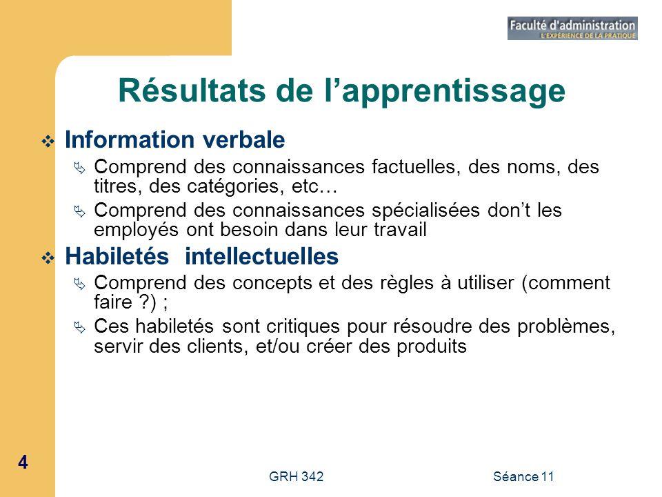 4 GRH 342Séance 11 Résultats de lapprentissage Information verbale Comprend des connaissances factuelles, des noms, des titres, des catégories, etc… C