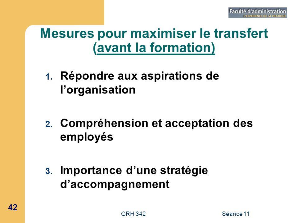 42 GRH 342Séance 11 Mesures pour maximiser le transfert (avant la formation) 1. Répondre aux aspirations de lorganisation 2. Compréhension et acceptat