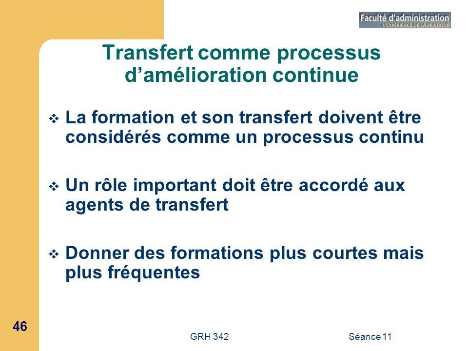 46 GRH 342Séance 11 Transfert comme processus damélioration continue La formation et son transfert doivent être considérés comme un processus continu