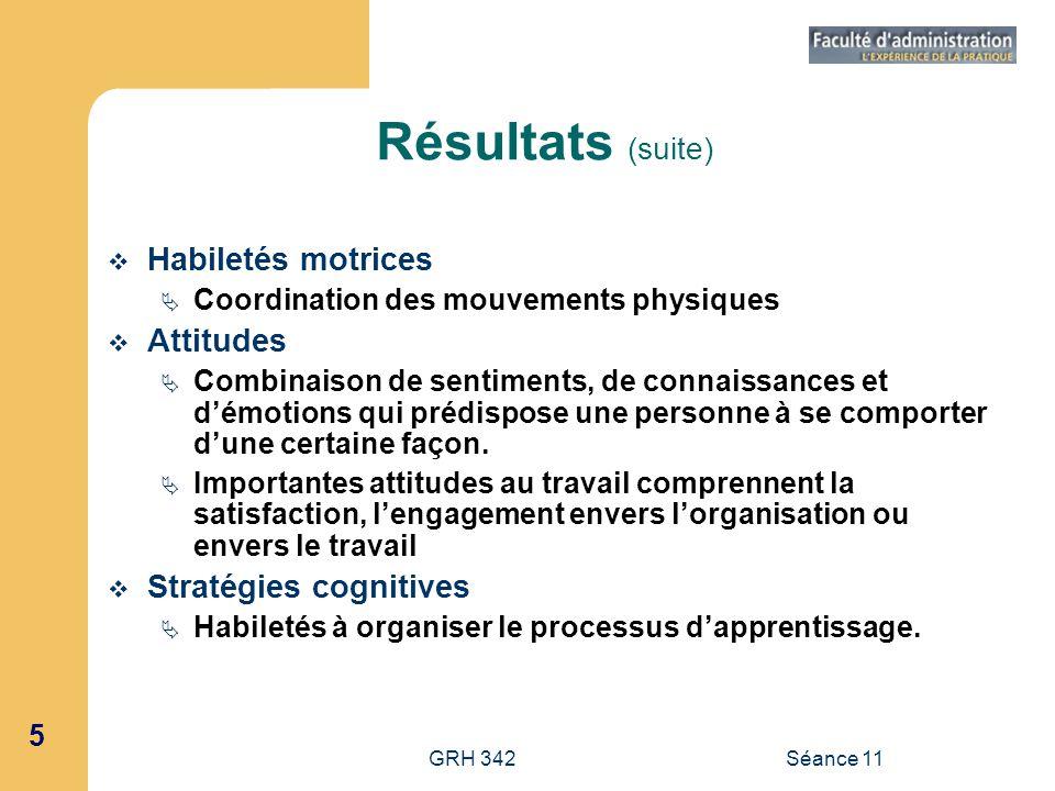 5 GRH 342Séance 11 Résultats (suite) Habiletés motrices Coordination des mouvements physiques Attitudes Combinaison de sentiments, de connaissances et