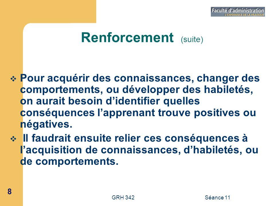 8 GRH 342Séance 11 Renforcement (suite) Pour acquérir des connaissances, changer des comportements, ou développer des habiletés, on aurait besoin dide