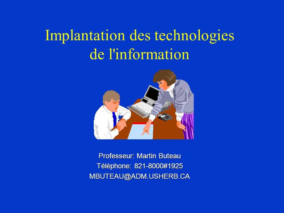 Implantation des technologies de l information Professeur: Martin Buteau Téléphone: 821-8000#1925 MBUTEAU@ADM.USHERB.CA
