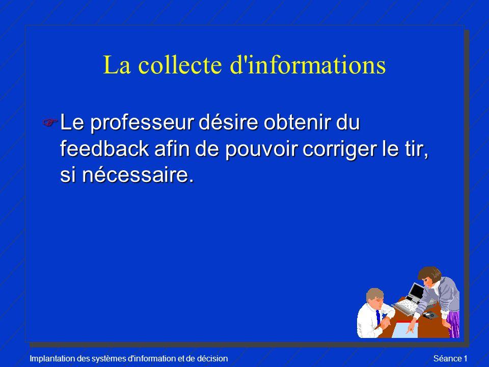 Implantation des systèmes d information et de décisionSéance 1 La collecte d informations F Le professeur désire obtenir du feedback afin de pouvoir corriger le tir, si nécessaire.