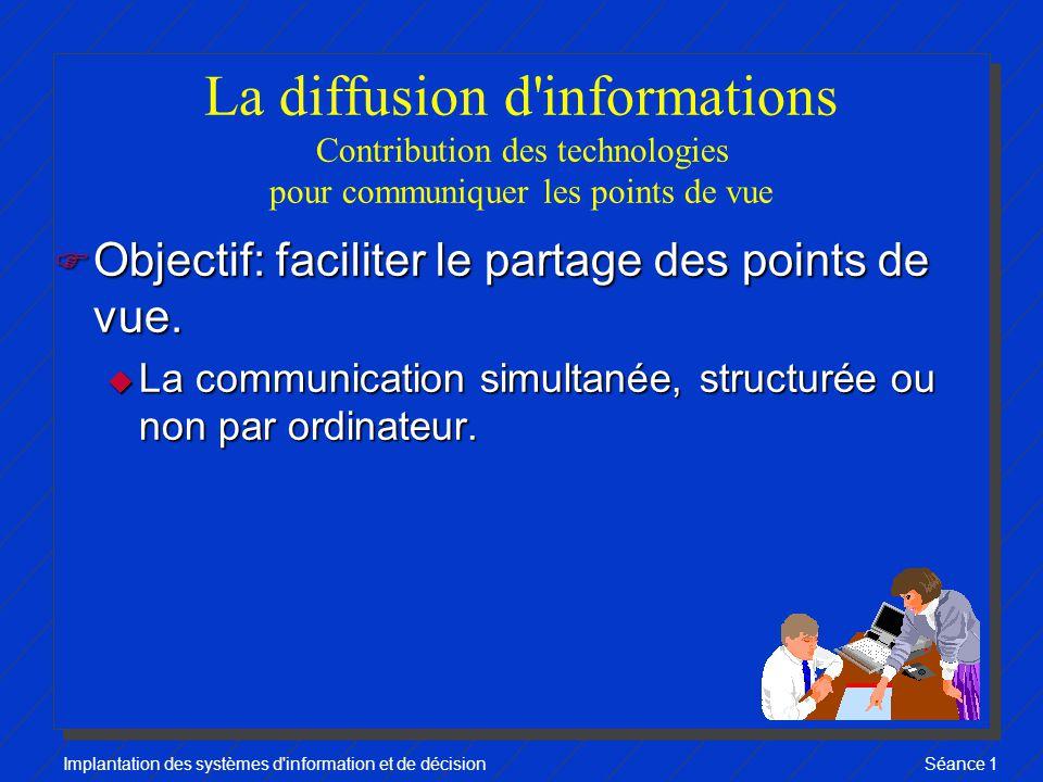Implantation des systèmes d information et de décisionSéance 1 La diffusion d informations Contribution des technologies pour communiquer les points de vue F Objectif: faciliter le partage des points de vue.