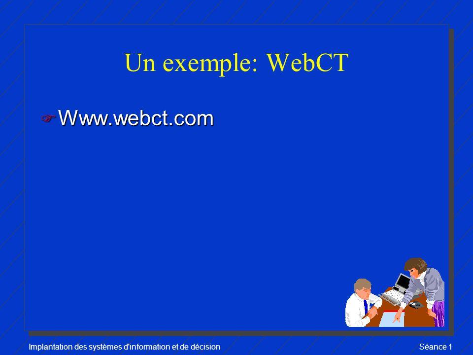 Implantation des systèmes d information et de décisionSéance 1 Un exemple: WebCT F Www.webct.com