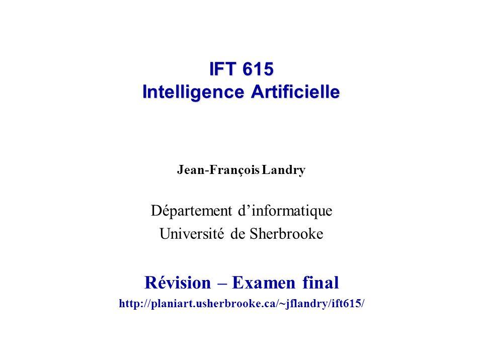 IFT 615 Intelligence Artificielle Jean-François Landry Département dinformatique Université de Sherbrooke Révision – Examen final http://planiart.usherbrooke.ca/~jflandry/ift615/