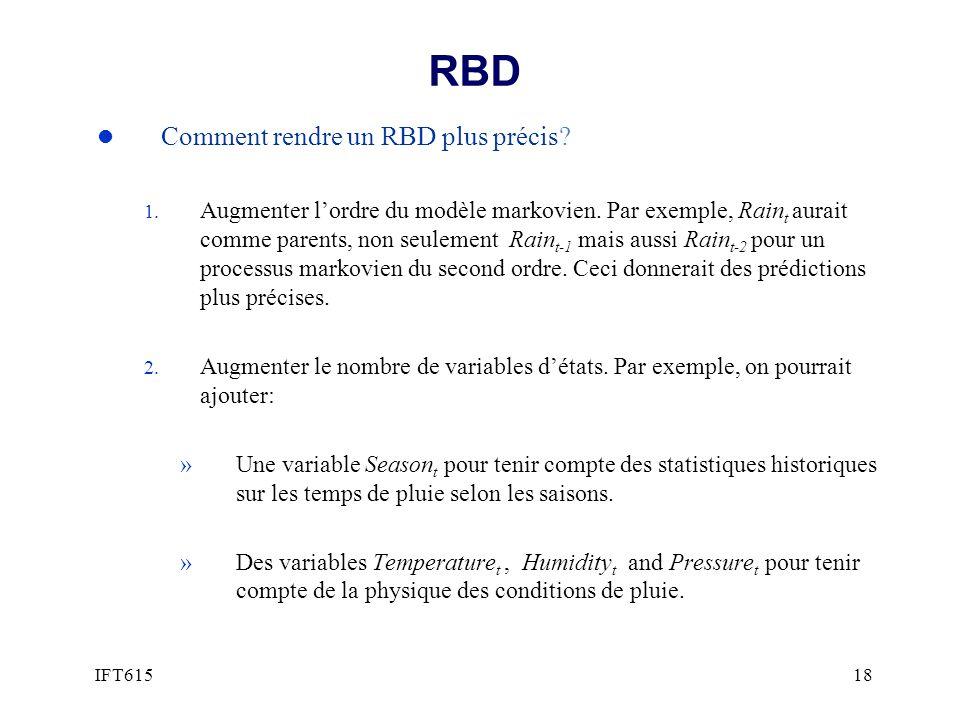 RBD l Comment rendre un RBD plus précis? 1. Augmenter lordre du modèle markovien. Par exemple, Rain t aurait comme parents, non seulement Rain t-1 mai