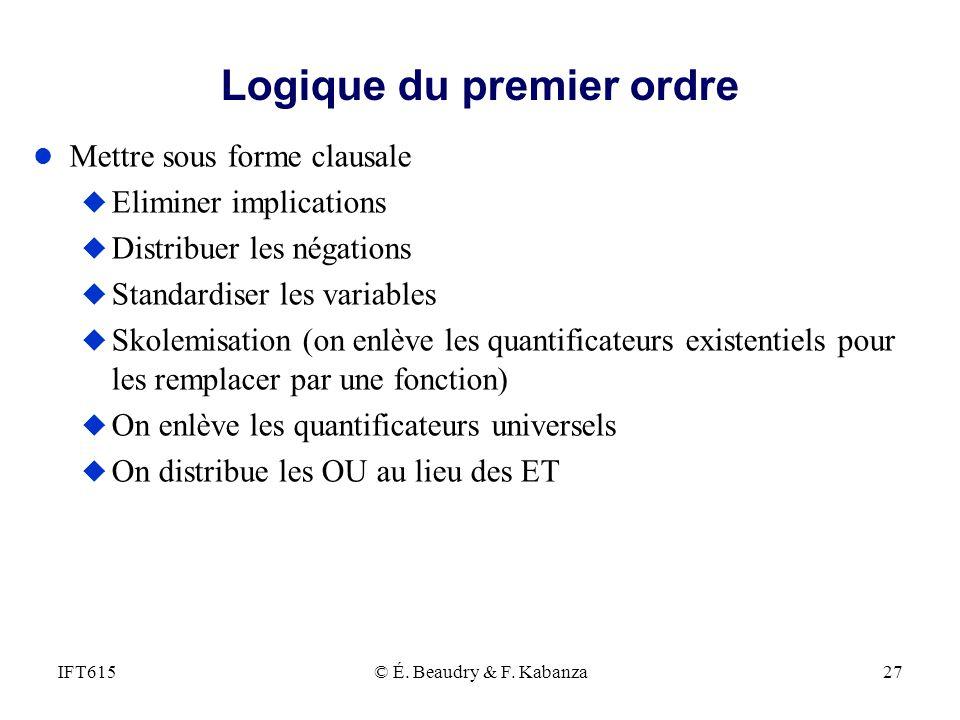 Logique du premier ordre l Mettre sous forme clausale u Eliminer implications u Distribuer les négations u Standardiser les variables u Skolemisation