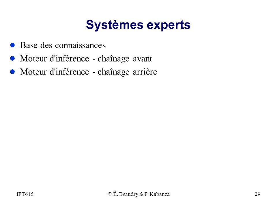 Systèmes experts l Base des connaissances l Moteur d'inférence - chaînage avant l Moteur d'inférence - chaînage arrière © É. Beaudry & F. Kabanza29IFT