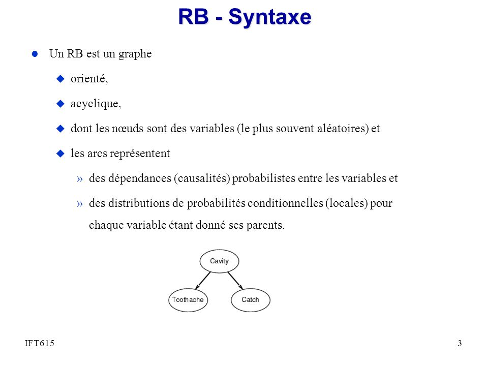 RB - Syntaxe l Un RB est un graphe u orienté, u acyclique, u dont les nœuds sont des variables (le plus souvent aléatoires) et u les arcs représentent »des dépendances (causalités) probabilistes entre les variables et »des distributions de probabilités conditionnelles (locales) pour chaque variable étant donné ses parents.
