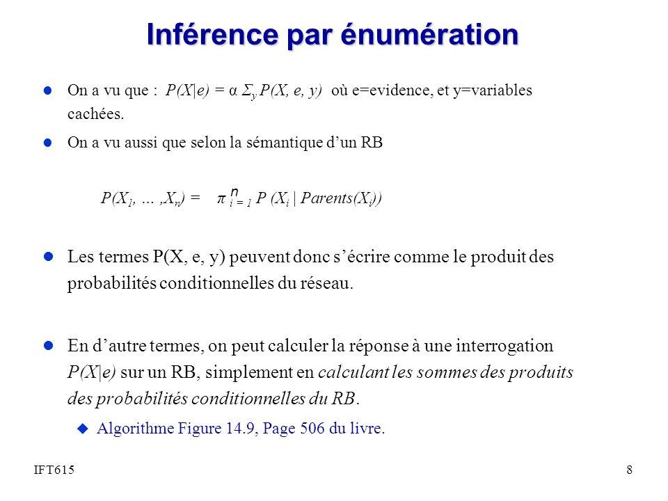 Inférence par énumération l On a vu que : P(X|e) = α Σ y P(X, e, y) où e=evidence, et y=variables cachées. l On a vu aussi que selon la sémantique dun