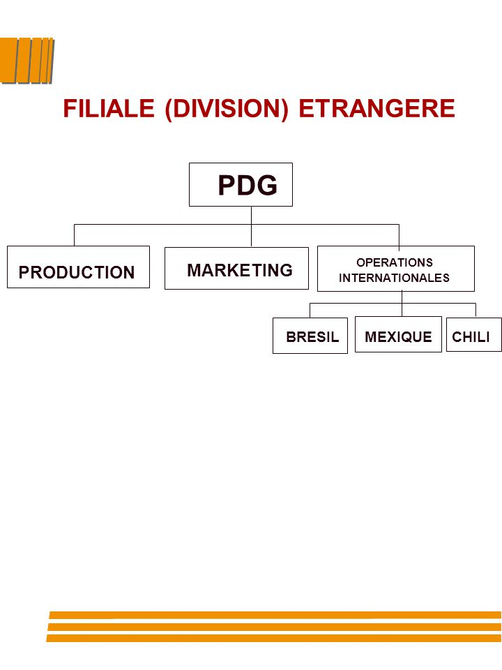 PDG PRODUCTION MARKETING FILIALE (DIVISION) ETRANGERE OPERATIONS INTERNATIONALES MEXIQUECHILIBRESIL