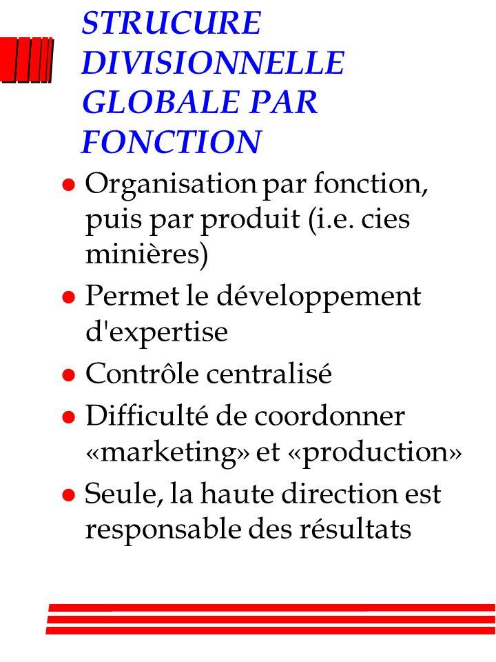 STRUCURE DIVISIONNELLE GLOBALE PAR FONCTION l Organisation par fonction, puis par produit (i.e. cies minières) l Permet le développement d'expertise l