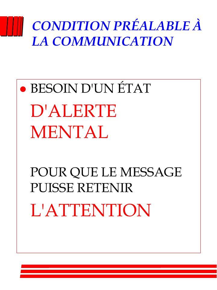 CONDITION PRÉALABLE À LA COMMUNICATION l BESOIN D UN ÉTAT D ALERTE MENTAL POUR QUE LE MESSAGE PUISSE RETENIR L ATTENTION
