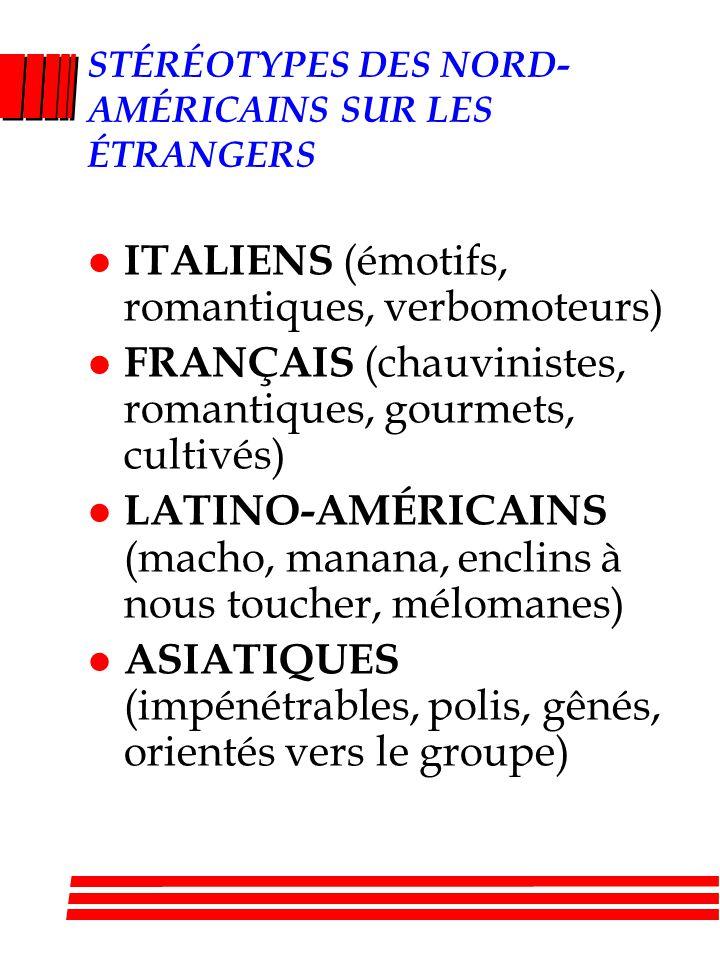 STÉRÉOTYPES DES NORD- AMÉRICAINS SUR LES ÉTRANGERS l ITALIENS (émotifs, romantiques, verbomoteurs) l FRANÇAIS (chauvinistes, romantiques, gourmets, cultivés) l LATINO-AMÉRICAINS (macho, manana, enclins à nous toucher, mélomanes) l ASIATIQUES (impénétrables, polis, gênés, orientés vers le groupe)