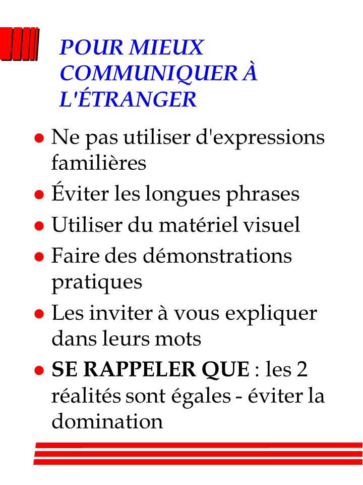 POUR MIEUX COMMUNIQUER À L'ÉTRANGER l Ne pas utiliser d'expressions familières l Éviter les longues phrases l Utiliser du matériel visuel l Faire des