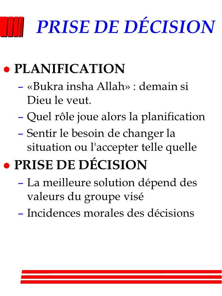 PRISE DE DÉCISION l PLANIFICATION –«Bukra insha Allah» : demain si Dieu le veut. –Quel rôle joue alors la planification –Sentir le besoin de changer l
