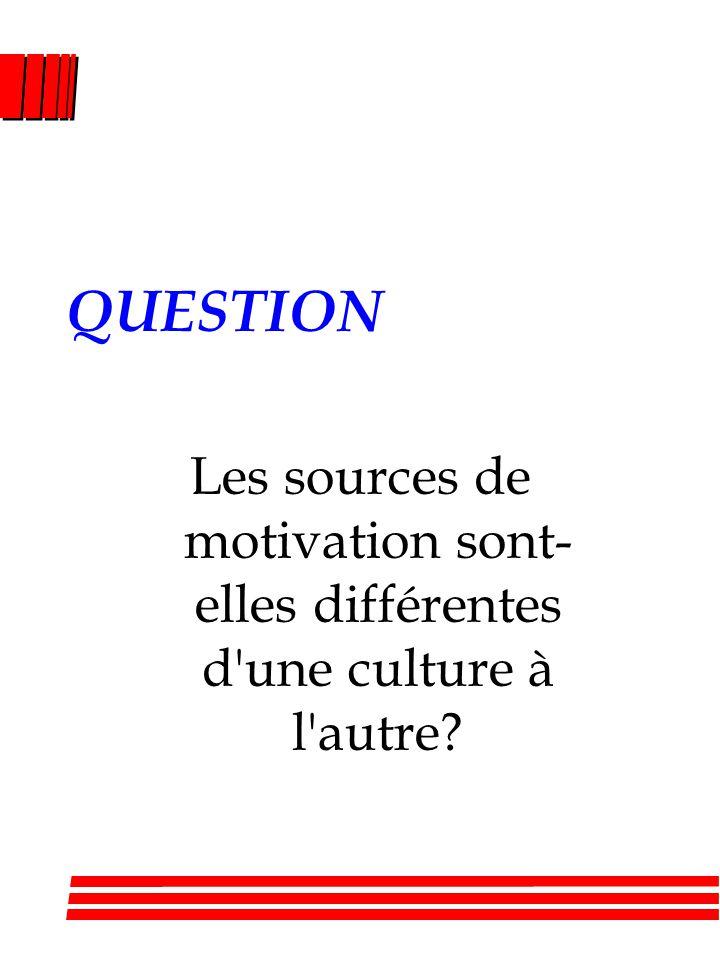 QUESTION Les sources de motivation sont- elles différentes d'une culture à l'autre?