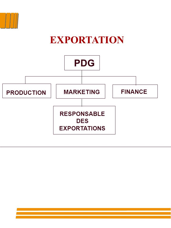 PDG PRODUCTION MARKETING FINANCE RESPONSABLE DES EXPORTATIONS EXPORTATION