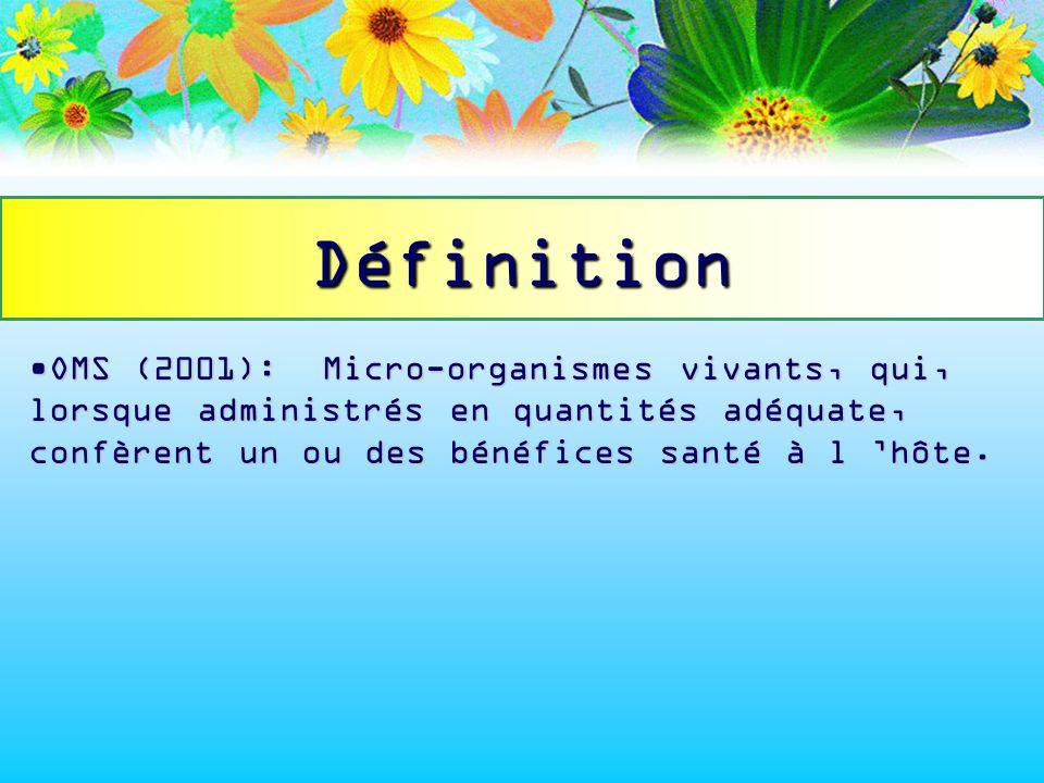 OMS (2001): Micro-organismes vivants, qui, lorsque administrés en quantités adéquate, confèrent un ou des bénéfices santé à l hôte.OMS (2001): Micro-o